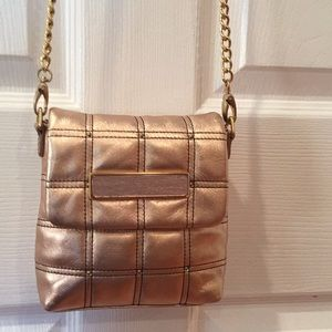 🌟MAXX NY rose gold leather purse with brass chain